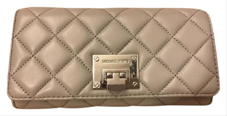 fd41067361ac Michael Kors Astrid Black Leather Silver Quilted Carryall Wallet Image 0 ...