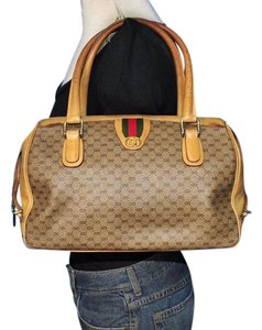 9e96a009504 Gucci Shades Of Early Rare Style Excellent Vintage Great Everyday Satchel  in brown small G logo