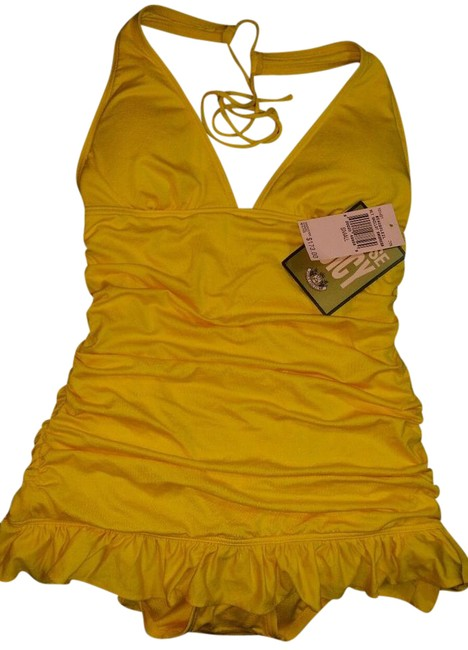 Item - Yellow *nwt* Ruffle Skirt Halter Swimdress Swimsuit Beausoleil One-piece Bathing Suit Size 6 (S)