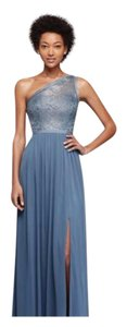 David's Bridal Steel Blue Metallic F17063 Dress