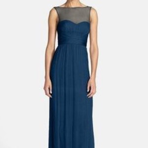 Amsale Pacific Blue Silk G849c Illusion Yoke Chiffon Gown In Formal Bridesmaid/Mob Dress Size 6 (S)