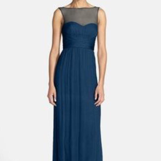 Item - Pacific Blue Silk G849c Illusion Yoke Chiffon Gown In Formal Bridesmaid/Mob Dress Size 6 (S)