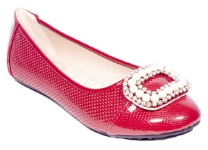 Tory K Buckle Cushioned Fashion Red Flats