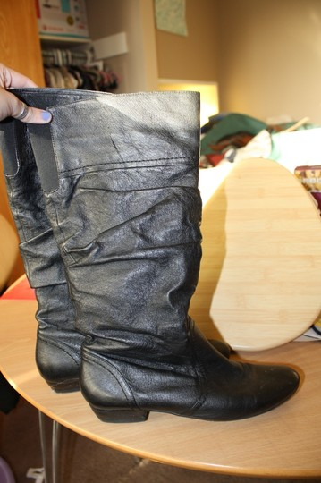 Steve Madden Leather Leather Slouch Slouchy Pull On Pull-on Black Boots