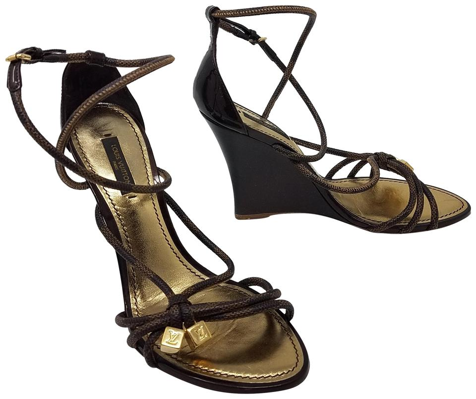248634d2aefb Louis Vuitton Brown Beige Gold Leather Lv Gold-tone Charm Cage Sandals