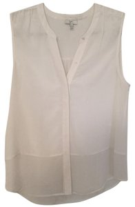 Joie Sleeveless Sheer Silk Top White