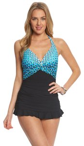 Profile NWT Profile by Gottex Cocoon swim 12 Swimdress swimsuit Halter blue