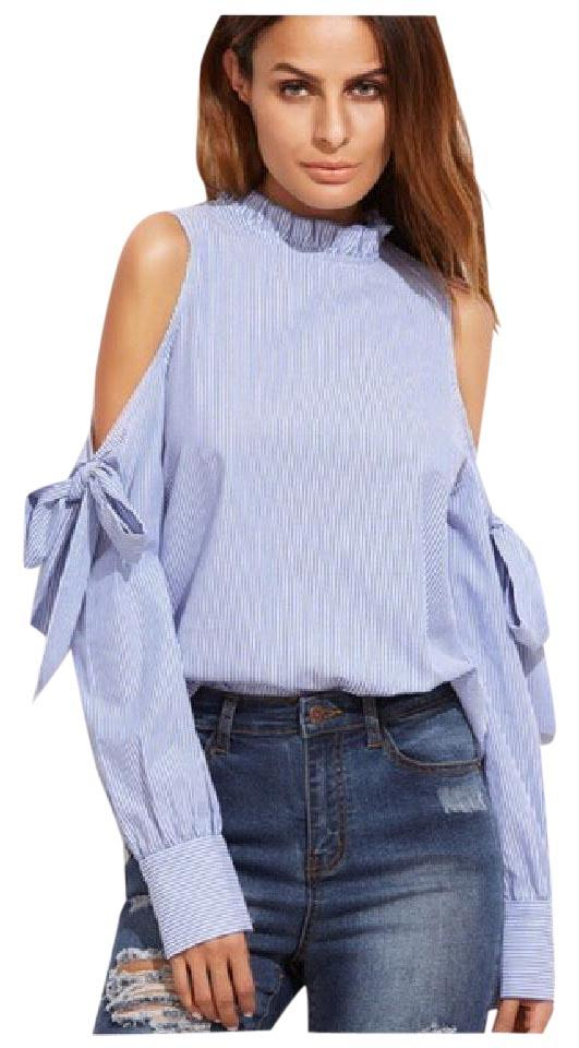 79977b1c60d37 Blue Cold Shoulder Tie Sleeve Da45 Blouse Size 8 (M) - Tradesy