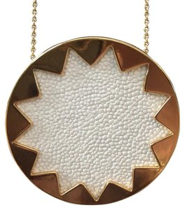House of Harlow 1960 large leather sunburst pendant necklace