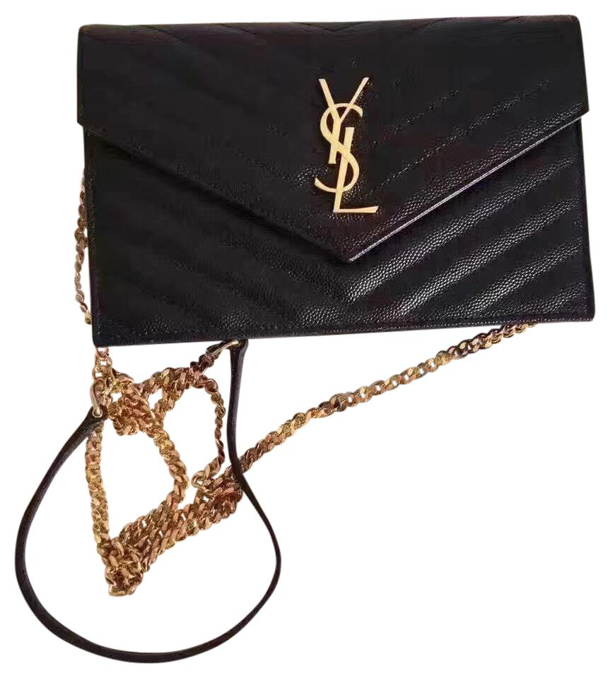 599a6111ee Saint Laurent Chain Wallet Ysl Monogram Quilted Envelope Clutch Black Gold Leather  Cross Body Bag