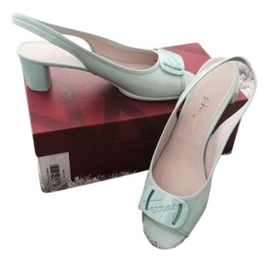 Salvatore Ferragamo Patent Leather Spring Celadon Green Sandals