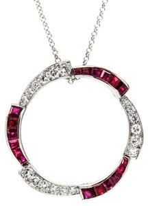 Cartier CARTIER Ruby, Diamonds Circle Pendant Brooch in 18k White Gold Vintage