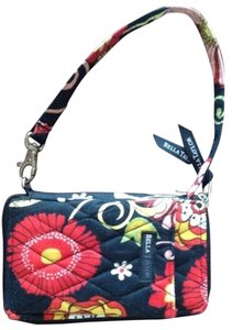 Bella Taylor Wristlet in Black W/floral Pattern Red, Yellow White