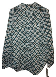 New York & Company Button Poly Button Down Shirt Teal Print