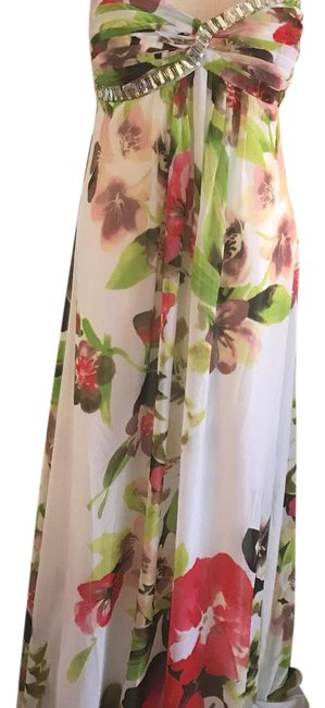Item - White with Multi-color Pattern Maxi Long Formal Dress Size 12 (L)