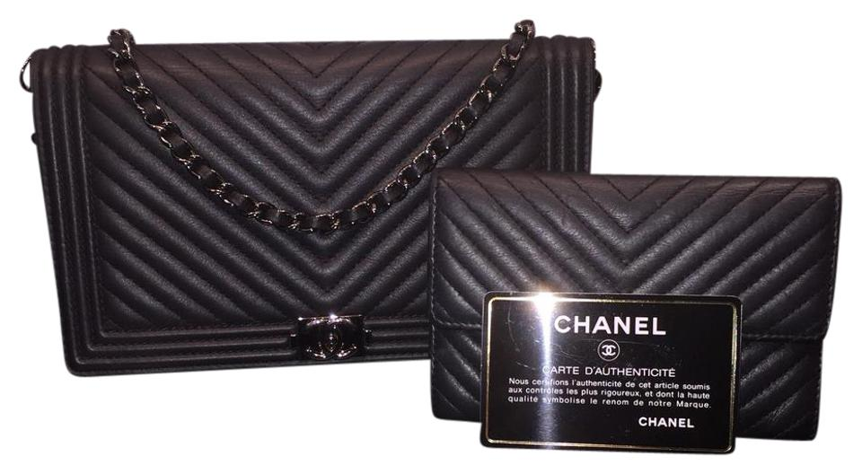 0001dfeb0f091d Chanel Clutch Boy Woc Chevron Wallet On Short Chain ((Full Set ...