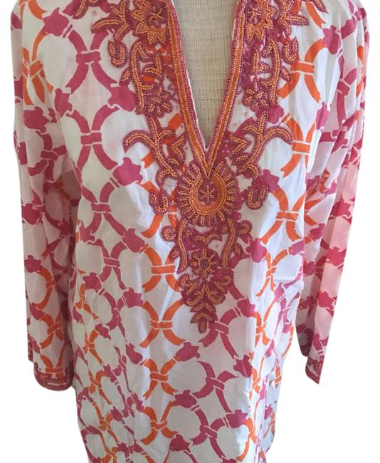 Item - White with Pink and Orange Pattern Tunic Beading Around The Neckline Short Casual Dress Size 10 (M)