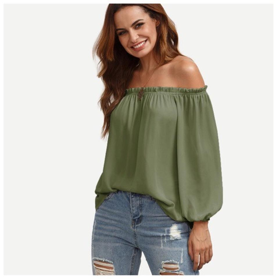 d8413c6454fa09 Olive Green Off The Shoulder Puff Sleeve Blouse Size 12 (L) - Tradesy