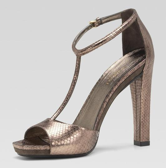 Gucci Daisy Python Leather High Heel T-strap Ankle Metallics Sandals