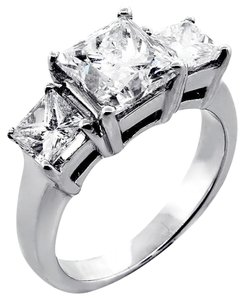 F Vs2 3.24 Tcw Princess Cut Three Stone Natural 14k White Gold Engagement Ring