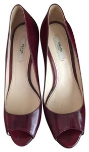 Prada Peep Toe Merlot Pumps