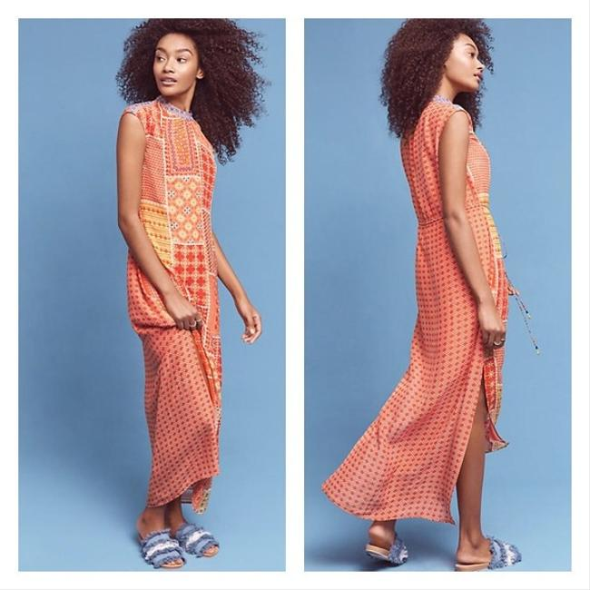 Item - Red/Orange Indian-inspired Patchwork Long Night Out Dress Size 6 (S)