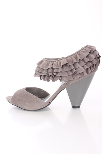 Qupid Ruffle Ankle Strap Stone Pumps