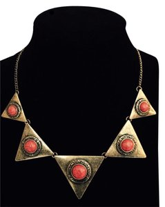Other Burnished Gold & Coral Aztec Tribal Necklace