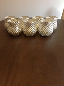 Silver Mercury Glass Vases Or Candle Holders - Set Of 7