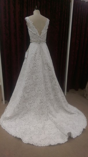 Justin Alexander Ivory/Oyster Guipure Lace 9736 New Modern Wedding Dress Size 10 (M) Image 4