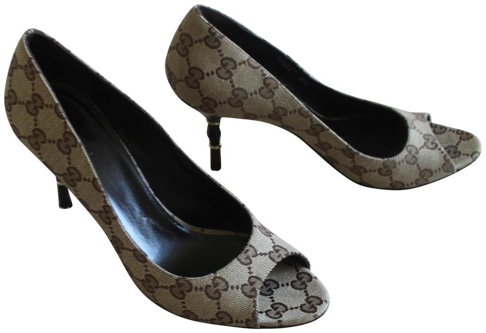 fa64810b85602 Gucci Beige Brown Tan Gg Monogram Canvas Peep-toe Pumps Size US 8.5 ...