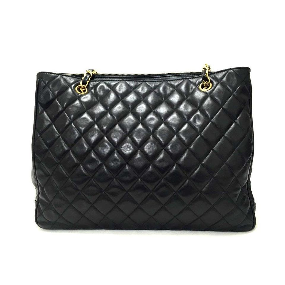 Chanel Vintage Lambskin Quilted Black Tote Bag On Sale 71