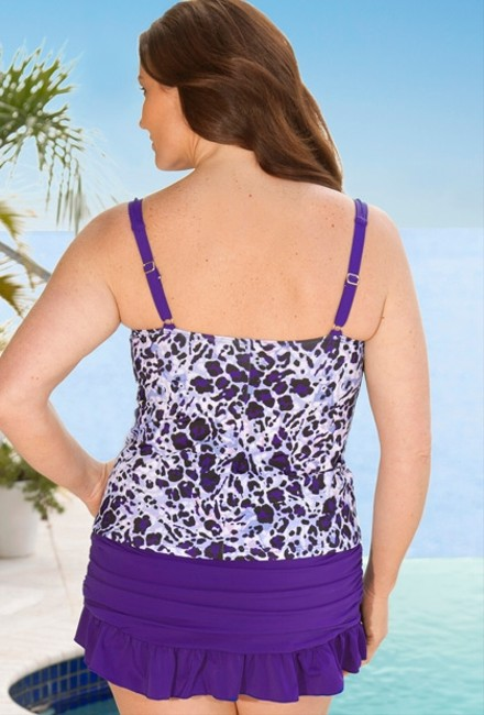 "Infinity Blu ""Infinity Blu"" Size: 20W Two-Piece Top and Skirted Bottom Ruffle Skirtini Swimsuit"