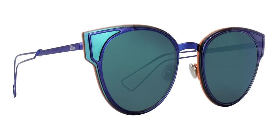 4efd04a0013d Dior DIOR SCULPT 53MM CAT EYE MIRRORED METALLIC SUNGLASSES SHINY BLUE NWT  Image 0 ...