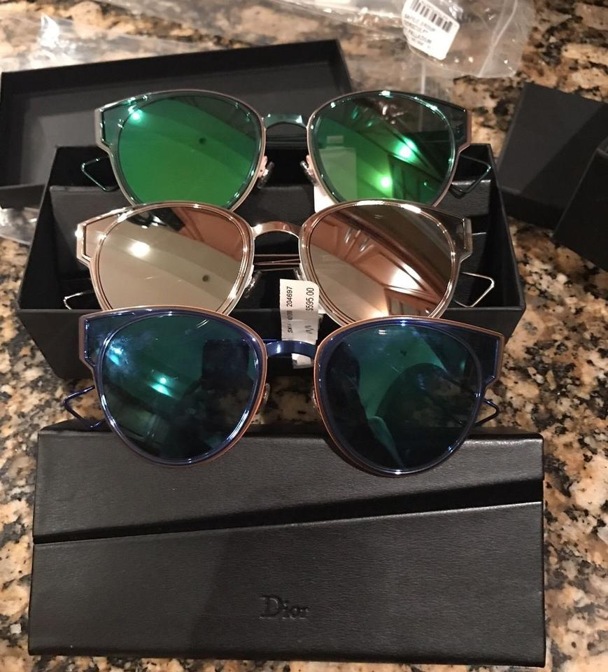 a2efc1956d38 Dior DIOR SCULPT 53MM CAT EYE MIRRORED METALLIC SUNGLASSES SHINY BLUE NWT  Image 2. 123
