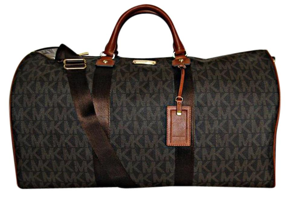 575eb455ac9a ... Michael Kors Mk Travel Mk Duffel Jet Set Travel Pvc Coated Canvas Brown  Travel Bag .
