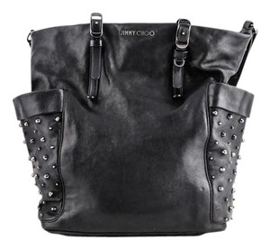 Jimmy Choo Studded Leather Tote in BLACK