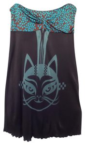 Custo Barcelona short dress Black + blue & brown Strapless Cat Knit Ruched on Tradesy