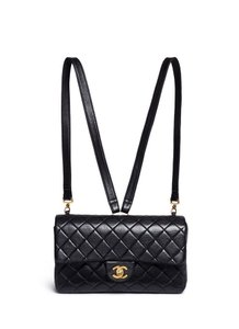 Chanel Black Lamskin Leather backpack - Tradesy : chanel quilted backpack - Adamdwight.com
