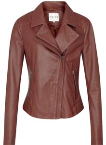 Reiss Leather Palermo Stitched Brown Jacket