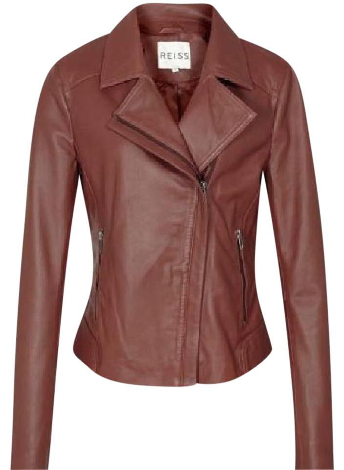 1f4624a5d Reiss Brown Palermo Womens Brick Leather Stitched Panel Jacket Size 8 (M)  65% off retail
