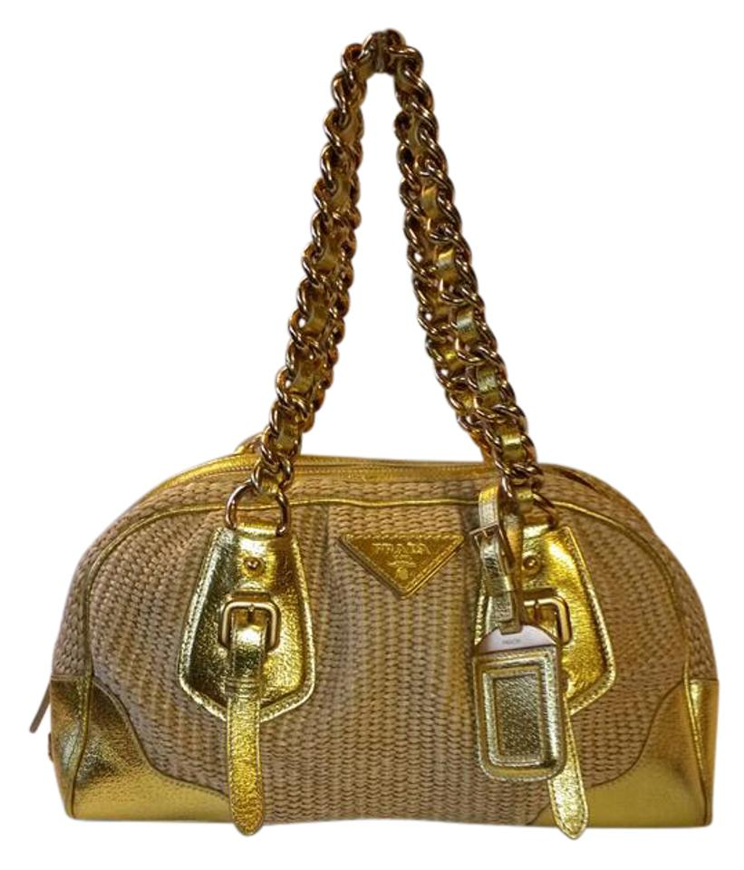 b6ace10f0c2478 Prada Shoulder Bag Reduced Price Beige Gold Woven Raffia Leather and ...