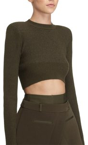 AQ/AQ Cropped Knitted Curved Top military green