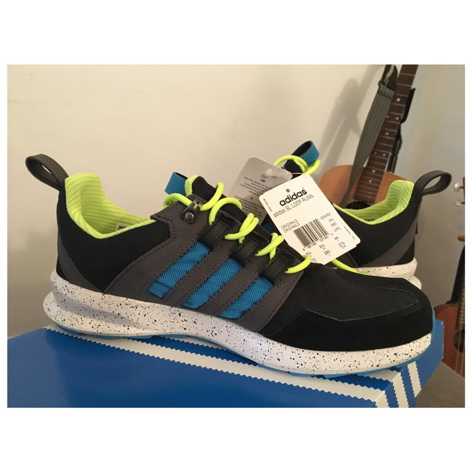 Black Adidas Running Shoes With Neon Green Back
