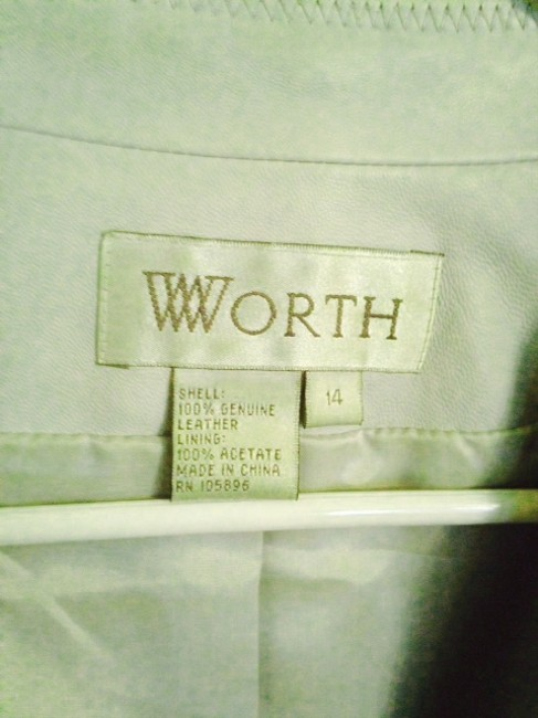 Worth Pale Dusty Blue Leather Jacket
