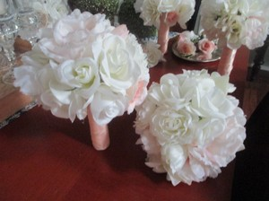 Ivory Blush Pink Bouquet Set *13pc.*ivory Romantic*rustic Ceremony Decoration