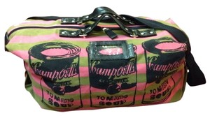 Other Pop Art Graphic Canvas Duffle Pink/Olive Travel Bag