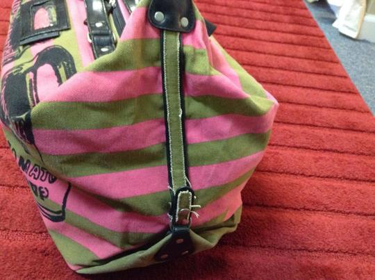 Other Pop Art Graphic Canvas Leather Duffle Stripe Travel Bag