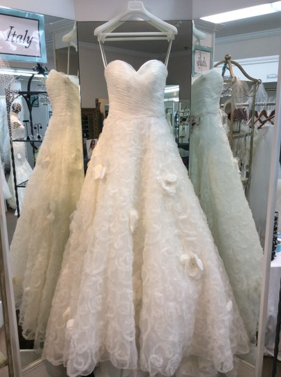 Mori Lee Ivory Tulle Organza 1601 Traditional Wedding Dress Size 10 (M)