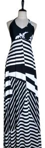 Black/White Maxi Dress by Lisa Nieves Stretchy Striped Maxi